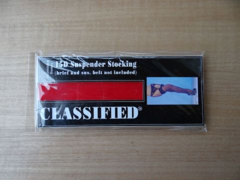 """CLASSIFIED"" 15 DENIER SUSPENDER STOCKINGS SIZE:- ONE SIZE   COLOURS:- BLACK/RED"
